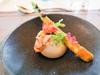 屏東蘆筍 / 烏魚子 / 魚子醬 / 紅胡椒 / 煎蝦 / 羅勒西谷米 / 法式洋芋泥