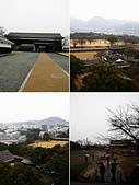 20120116A 早餐‧雨中熊本城:『熊本城』- 天守閣七樓頂樓上展朢,下雨天一片昏暗
