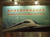 上海浦東磁浮列車:進入車站大廳後看到的大背景牌