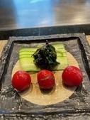 ibuki 李桑の創作懷石料理:蜂蜜紫蘇釀有機番茄佐海藻蘋果醬